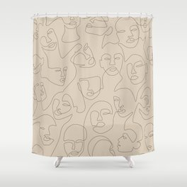 She's Beige Shower Curtain