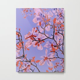 Copper Flowers on violett ground Metal Print