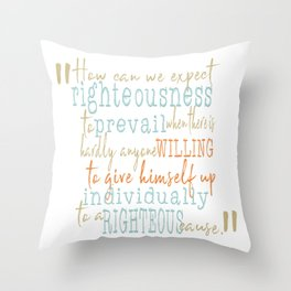 Motivational Righteous Quote Typography Turquoise Orange Throw Pillow