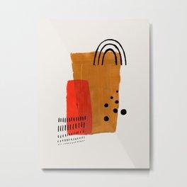 Sun Mountain Yellow & Orange Mid Century Modern Colorful Minimalist Shapes Patterns by Ejaaz Haniff Metal Print