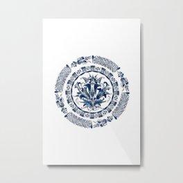 Blue ornaments,mandala design  Metal Print
