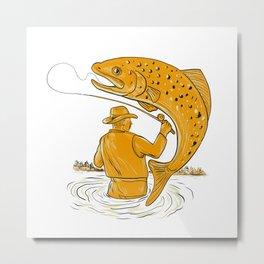 Fly Fisherman Reeling Trout Drawing Metal Print
