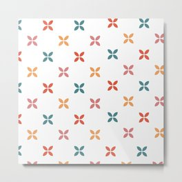 Geometric square flower pattern Metal Print