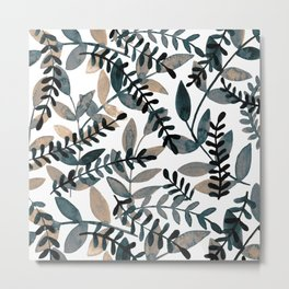 Watercolor branches - neutral Metal Print