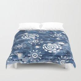 Indigo batik abstract watercolor Duvet Cover