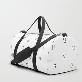 ABC alphabet back to school type pattern Black & White Duffle Bag