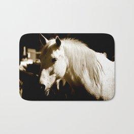 White Horse-Sepia Bath Mat