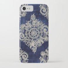 Cream Floral Moroccan Pattern on Deep Indigo Ink iPhone 8 Slim Case