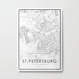 St. Petersburg City Map Russia White and Black Metal Print