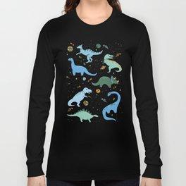 Dinosaurs in Space in Blue Langarmshirt