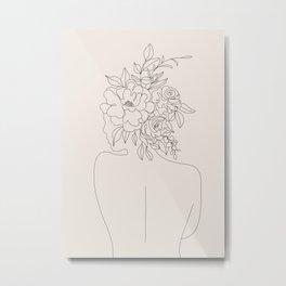 Woman with Flowers Minimal Line I Metal Print