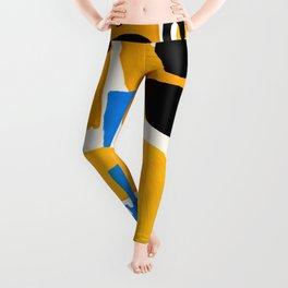 Mid Century Modern abstract Minimalist Fun Colorful Shapes Patterns Ikea Yellow & Blue Leggings