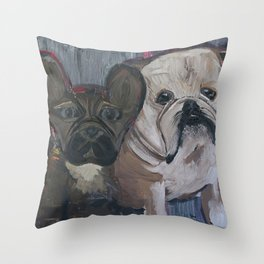 fenchie and bulldog Throw Pillow
