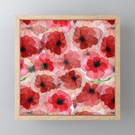 Pressed Poppy Blossom Pattern Framed Mini Art Print