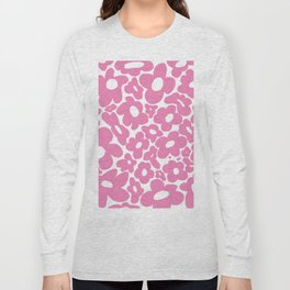 60s 70s Hippy Flowers Pink Long Sleeve T-shirt