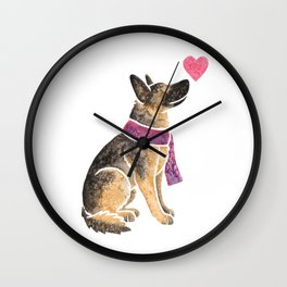 Watercolour German Shepherd Dog Wall Clock