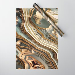 White Gold Agate Abstract Wrapping Paper