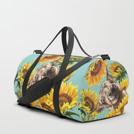 Highland Cow with Sunflowers in Blue Duffle Bag