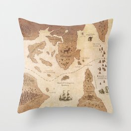 The Antlered Ship_Map Endpapers Throw Pillow