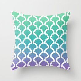 Classic Fan or Scallop Pattern 466 Green Blue and Lavender Throw Pillow