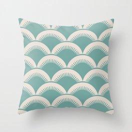 Japanese Fan Pattern Foam Green and Beige Throw Pillow