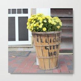 Fall Flowers in Basket Metal Print