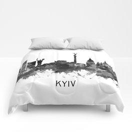 Kyiv Ukraine Skyline BW Comforters