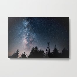 Milky Way Over Forest Metal Print
