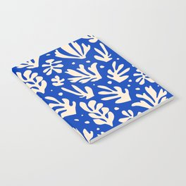 matisse pattern with leaves in blu Notebook