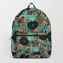 Black Brown and Teal Watercolor Floral Backpack