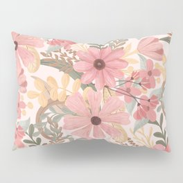 Pink Sage Green Floral Leaves Watercolor Pattern Pillow Sham