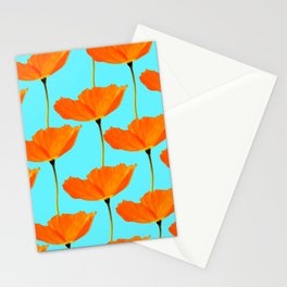 Poppies On A Turquoise Background #decor #society6 #buyart Stationery Cards