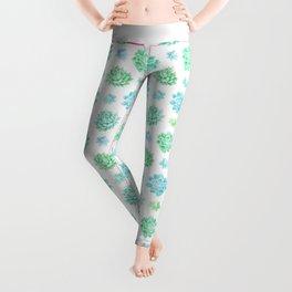 Trendy modern turquoise teal cute cactus pattern Leggings