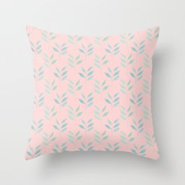 Light pink and blue feminine watercolor foliage leaves pattern Throw Pillow