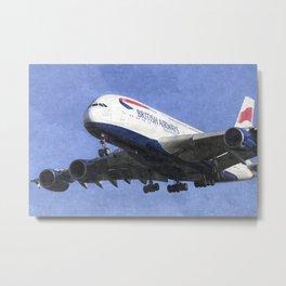 British Airways Airbus A380 Art Metal Print