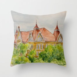 Texas State (SWT) University Old Main Building, San Marcos, TX Throw Pillow