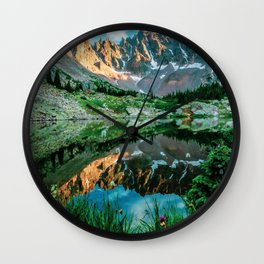Sun Ridge Lake Reflection // Incredible Backpacking Trip Wild Flowers and Natural Beauty Wall Clock
