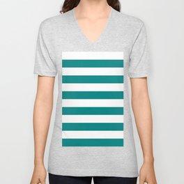 Horizontal Stripes - White and Dark Cyan Unisex V-Neck