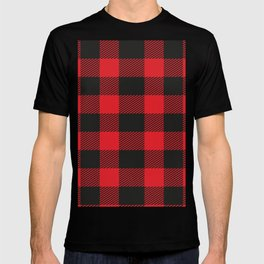 Black And Red Flannel Pattern T-shirt