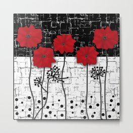 Applique Poppies on black and white background . Metal Print