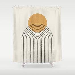 Gold Sun rainbow mountain Shower Curtain