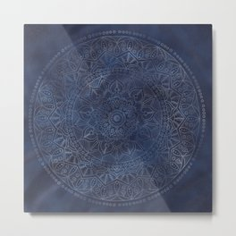 Vintage Circle of Life Mandala full color on blue swirl Distressed Metal Print