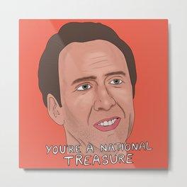 Nicolas Cage meme, National Treasure, Con air, Face Off, Nic Cage face art Metal Print