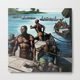 African American Masterpiece 'Rowing Ashore' by J. C. Leyendecker Metal Print
