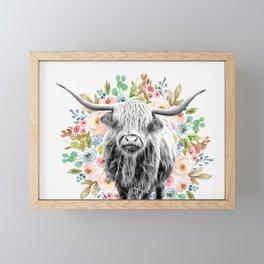 Cutest Highland Cow With Flowers Framed Mini Art Print