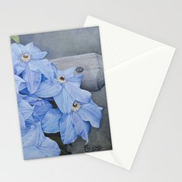 Blue Clematis Flowers on Knotted Fence Post Stationery Cards