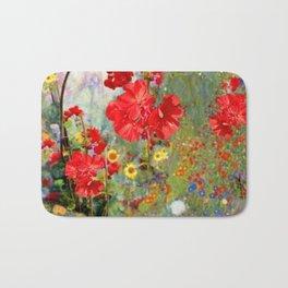Red Geraniums in Spring Garden Landscape Painting Bath Mat