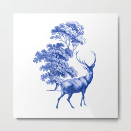 Classic French Toile Countryside Deer Pattern Metal Print