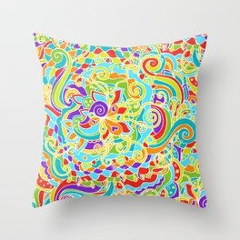 Floral Ornament in Colors Throw Pillow