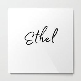 Ethel Calligraphy Metal Print
